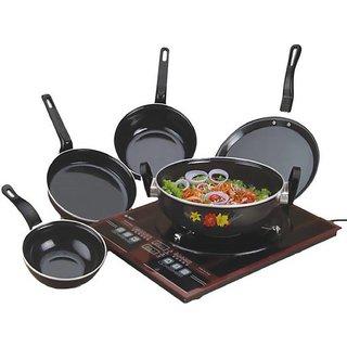 Rident Kitchen Cookware Set Induction Bottom Hard Coat - Set of 5 (Karahi Tadka Fry Pan Sauce Pan Dosa Tawa)
