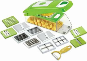12 in 1 Fruit  Vegetable Graters, Slicer, Chipser, Dicer, Cutter Chopper Upgraded Deluxe Model With Unbreakable ABS Bod