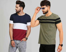 Black Stud Multicolor Cotton Blend Round Neck T-Shirt For Men Pack Of 2