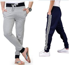Stylatract Pack Of 2 Pcs  Black/Grey Track pant for Men