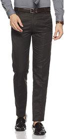 Cliths Slim Fit Flat Front Black Formal Trouser For Men