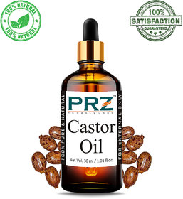 PRZ Castor Cold Pressed Carrier Oil (30ML) - Pure Natural & Therapeutic Grade Oil For Aromatherapy Body Massage, Skin Care & Hair ReGrowth
