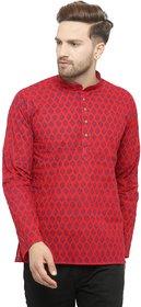 RG Designers Regular Fit Maroon Cotton Printed Short Kurta for Men