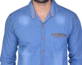 La Milano Men's Solid Denim Casual Shirt