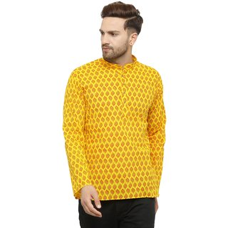 RG Designers Regular Fit Yellow Cotton Printed Short Kurta for Men