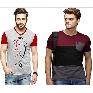Solid Men Stylatract Neck Maroon, Grey T-Shirt  (Pack of 2) Multi Color