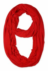 Jakqo Women's Infinity Around Loop Scarf (Free Size, Red)