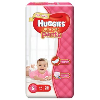 Huggies Ultra Soft Pants Diapers for Girls, Small (Pack of 36)