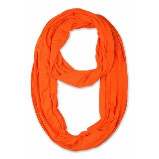 Jakqo Women's Infinity Around Loop Scarf (Free Size, Orange)