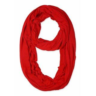 Jakqo Women's Infinity Around Loop Scarf (Free Size, Red)
