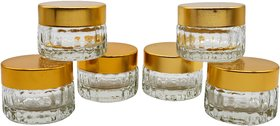 Glazzure Cute 10 ml Designer Rib Glass Bottles for Ointment, Cosmetics  Medicines with Golden Red Caps  Set of 6