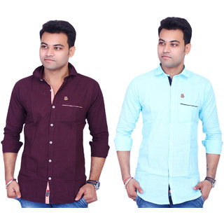 La Milano Men's Solid Cotton Casual Shirt Combo Of Two