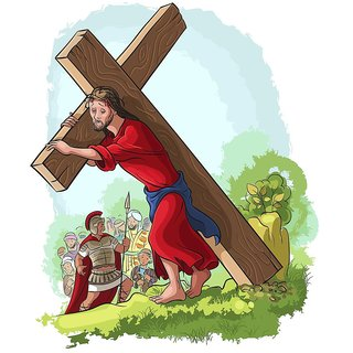 Jesus Christ carrying cross |(size:12x18 inch) |Sticker Paper Poster, 12x18 Inch