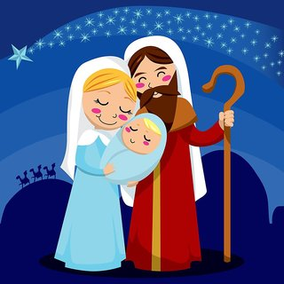 Jesus, Mary and Joseph |(size:12x18 inch) |Sticker Paper Poster, 12x18 Inch