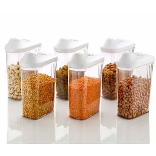 Kitchen Easy Flow Plastic Kitchen Storage Jars  Container Set of 6, Transparent