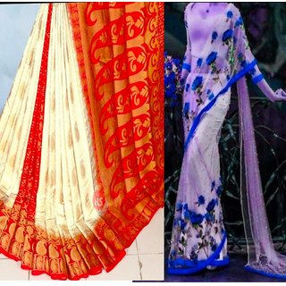 Combo tussar silk and net embroidery pearl work saree