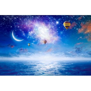 coloful picture beautiful moon  wall poster   Sticker Paper Poster, 12x18 Inch