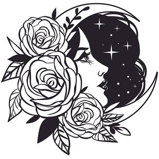 femal face moon |wall poster| |Sticker Paper Poster, 12x18 Inch