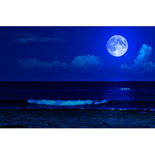 full moon night |wall poster| |Sticker Paper Poster, 12x18 Inch