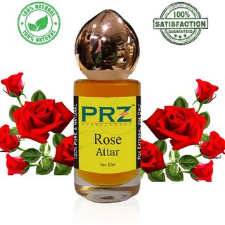 PRZ Rose Attar Roll-on For Unisex Pure (10 ML) - Pure Natural Premium Quality Perfume (Non-Alcoholic)