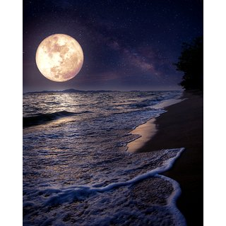 a beautiful moon |wall poster| |Sticker Paper Poster, 12x18 Inch