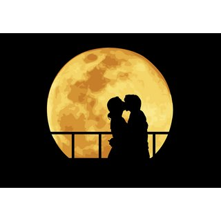 yellow moon with cute couple |wall poster| |Sticker Paper Poster, 12x18 Inch