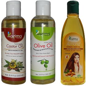 KAZIMA Combo of Olive Oil + Castor Oil  and Almond Herbal Hair Oil (Each 100ML ) Anti Hair Fall Control  Hair Growth