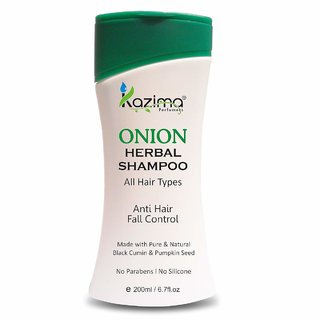 KAZIMA Onion Herbal Shampoo 200ML with Multi Vitamins  Milk Proteins For Anti Hair Fall Control, Hair Strengthening With Onion juice, Argan  Almond Oil (Volumizing - New  Improved) Advanced Repairing Smooth and Silky
