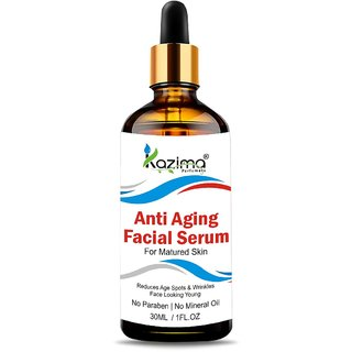 KAZIMA Anti Aging Facial Serum (30ML) with Argan Oil, Rosehip Oil, Pomegranate Oil  Cucumber Oil For Face - Best For An