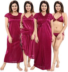 Be You Magenta Solid Lace Satin Women Nightwear Set (1 Robe, 1 Nighty, 1 Lingerie Set, 1 NightSuit) (Free Size)