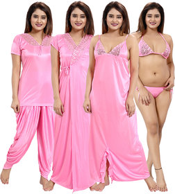 Be You Light Pink Solid Lace Satin Women Nightwear Sets (1 Robe, 1 Nighty, 1 Lingerie Set, 1 NightSuit) (Free Size)
