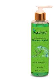 KAZIMA Neem  Tulsi Bath Shower Gel  Luxury Body Wash (200ML) with Shea Butter, Vitamin E, Aloe Vera, Rose, Lavender, H