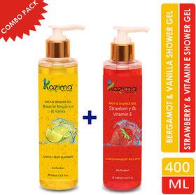 KAZIMA Breathe Bergamot  Vanilla Bath Gel + Strawberry  Vitamin E Luxury Body Wash  Shower Gel (2PCS of 200ml) (Free