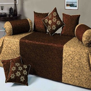 SHAKRIN Velvet Brown  Diwan Set 8 Pcs (Content 1 Single Bed Sheet, 5 Cushion Cover, 2 Bolster, Total - 8 Pcs Set)