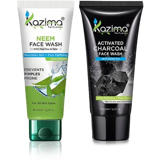 KAZIMA Anti-acne  Pimples/blemishes Combo pack of Neem and CHARCOAL Face Wash With Green Tea (100 ml Each)