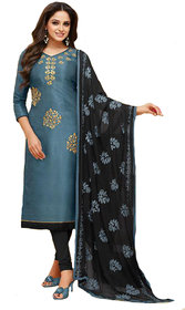 Shree Ganesh Retail Womens Banarasi Silk Salwar Suit Churidar Salwar Kameez Unstitched Dress Material ( 1217 BLUE  BLACK )