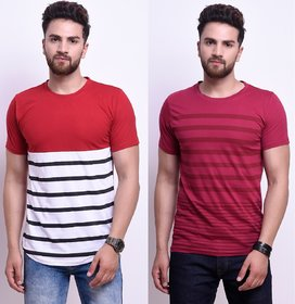 Odoky Axxitude Multicolor Round Neck T-Shirts For Men (Pack of 2)