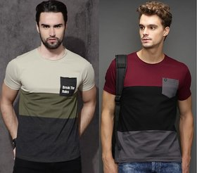 Pack of 2 AXXITUDE Multicolor  Round Neck T-Shirts For Men