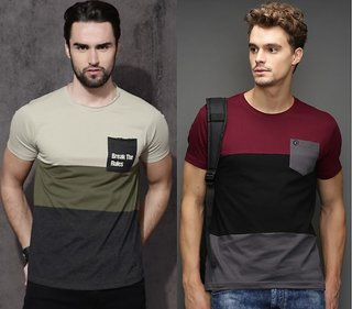 Pack of 2 AXXITUDE Men Multicolor Round Neck T-Shirt