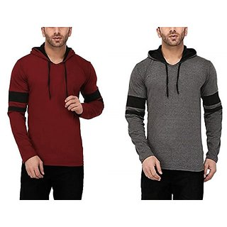 Combo of 2 Axxitude Multicolor Hooded T-Shirts For Men
