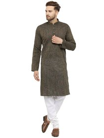 RG Designers Black Artifical Silk Full Sleeve Handloom Kurta and Pyjama Set for Men