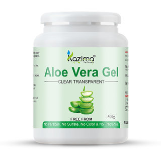 KAZIMA Pure Natural Raw Aloe Vera Gel (500 Gram) - Ideal for Skin Treatment, Face, Acne Scars, Hair Treatment Pack of 1