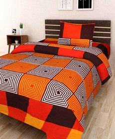 SHAKRIN 3D Printed Glace Cotton Single Bedsheet with 1 Pillow Cover, Size  60 x 90 Inches (152 cm x 228 cm)