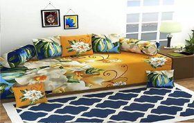 SHAKRIN 3D diwan Set Printed 8 Piece of Combo 5 Cushions and 2 Bolster with Single bedsheet