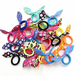 Iconic Girls Rabbit Ear Hair Tie Rubber Bands Style Ponytail Holder (Multicolour) -12 Pieces