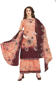 Brown  Peach colored Designer Karachi Cotton Printed Suit