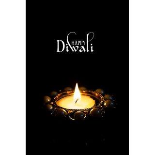black happy diwali with diya  Sticker Paper Poster, 12x18 Inch