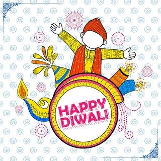 f kid celebrating  Diwali |Sticker Paper Poster, 12x18 Inch