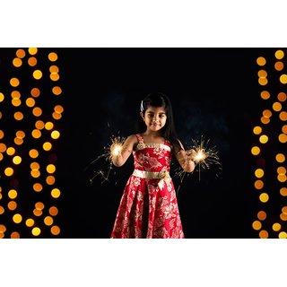 Cute little Indian girl enjoying  Sticker Paper Poster, 12x18 Inch