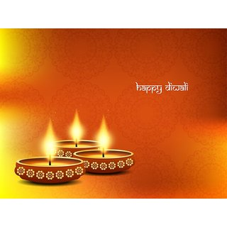 diya decoration with diwlai |Sticker Paper Poster, 12x18 Inch